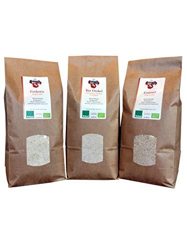 Bio Urgetreide-Vollkornmehl im Set (3 x 1 kg) - Dinkel, Emmer und Einkorn aus Bayern