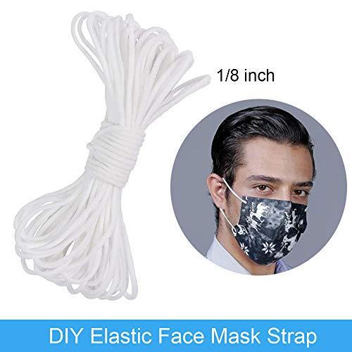 10 Meters Elastic Strap White Earloop Cord Stretchy Ear Tie Rope Handmade String for Sewing,1/8-Inch (3mm)