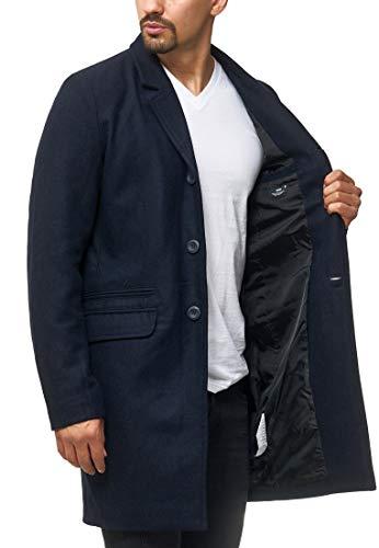 Indicode Herren Ilchester Wollmantel mit Stehkragen einfarbig, melliert oder im Tweed Karo-Muster   Herrenmantel Wintermantel Lange Übergangsjacke Winterjacke Mantel für Männer Navy XL