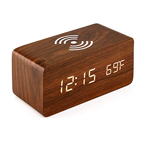 Oct17 Wooden Alarm Clock with Qi Wireless Charging Pad Compatible with iPhone Samsung Wood LED Digital Clock Sound Control Function, Time Date, Temperature Display for Bedroom Office Home- Brown