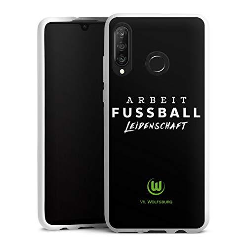 DeinDesign Silikon Hülle kompatibel mit Huawei P30 Lite Case weiß Handyhülle VFL Wolfsburg Offizielles Lizenzprodukt Statement