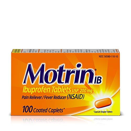 Motrin IB Pain Reliever Fever Reducer (NSAID) Ibuprofen Tablets, 100 Count