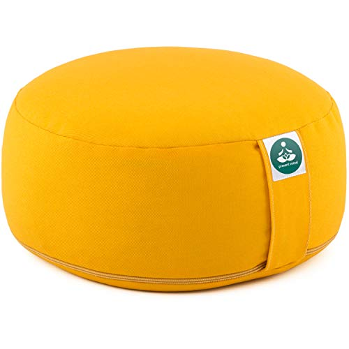 Present Mind Coussin Zafu Rond de Méditation et de Yoga - Hauteur d'assise 16 cm - pour S'asseoir au Sol avec Une Housse