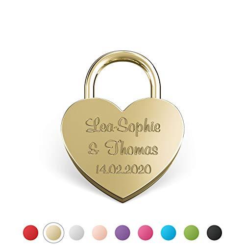 LIEBESSCHLOSS-FACTORY Kleines mini Herz-Schloss Gold mit Gravur und Schlüssel, gratis Geschenkbox uvm. Jetzt graviertes Liebes-Schloss in Herzform gestalten!