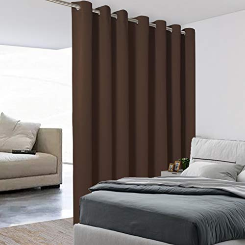 BONZER Extra breiter Raumteiler-Vorhang, Raumteiler, totale Privatsphäre, Wandgeräuschreduzierung, Verdunkelungsvorhänge für Heimkino, Aufbewahrung, 4,5 m breit x 2,7 hoch, 1 Panel, Schokoladenbraun