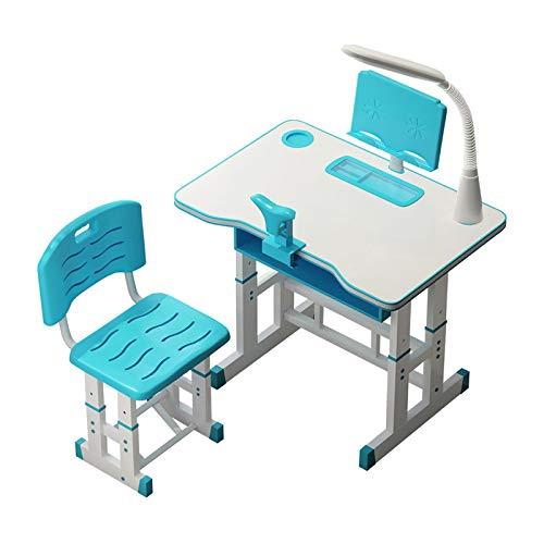 4YANG Juego de escritorio y silla para niños, mesa de estudio ajustable en altura con cajones de escritorio antirreflectantes, luz LED, lector y ortesis, ideal para niños de 3 a 15 años (azul)