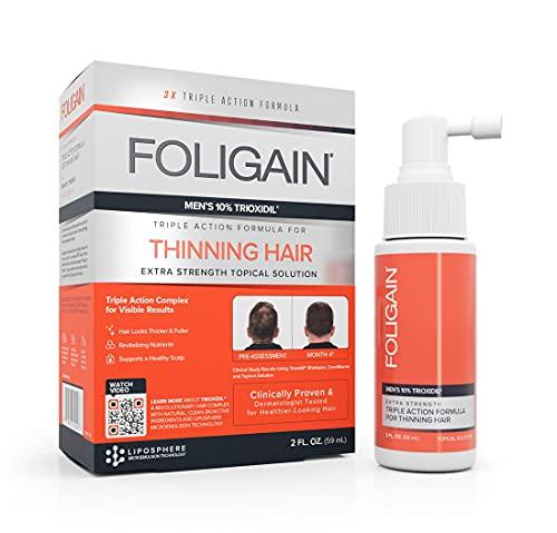 Foligain–Soluzione topica con trioxidil al 10%, per uomo, trattamento anticaduta, stimola la ricrescita dei capelli, 59 ml