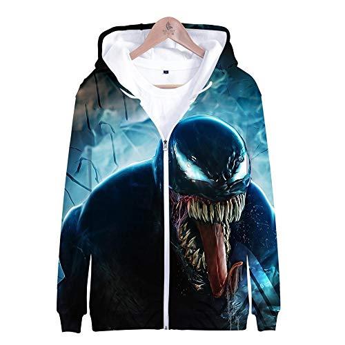 Nouxh Unisex Kapuzenpullover Kapuzenjacke 3D Druck Pullover Langarm Hooded Sweatshirts Slim Fit Hoodie Tops Hip Hop Kapuzenpulli Warm Strickjacke Cosplay Venom Zipper