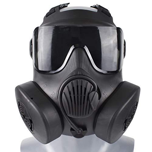 Wwman Verschleißfeste Taktische/cs/Airsoft/Paintball-Maske für den Außenbereich Vollgesichts-TPR-Schutzmaske mit klarer Linse. (Double-BK-G)