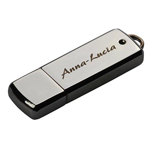 USB Stick Chrome 16 GB mit Lasergravur, Gravur, nach Ihren Wünschen, Metall, mit Namen graviert