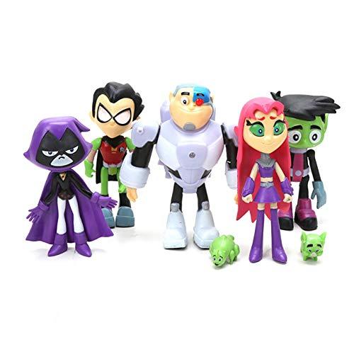 whelsara Piezas Teen Titans Go Figuras de acción Teen Titans Go Figuras de PVC Juguete Juvenile Titan Tema Fiesta Suministros Colección Figura Modelo Muñeca Regalo para Mesa Accesorios de Regu