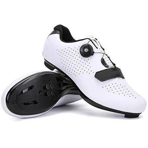Zapatillas de Ciclismo para Hombre Zapatillas de Bicicleta de Carretera Zapatillas de Ciclismo de Carretera Ultraligeras Autoblocantes Profesional Transpirable Luminoso,Blanco,EU42 UK7.5