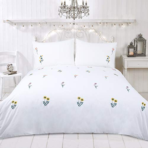YINFUNG Duvet Cover Set with All Over flower Embroidered White King and Double 3PCS Bedding Set White Quilt Cover Embroidered Bright Soft 2 Pillow Cases 50x75
