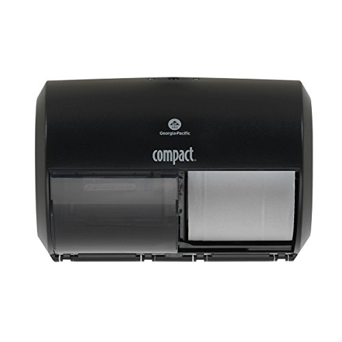 Compact 2-Roll Side-by-Side Coreless High-Capacity Toilet Paper Dispenser by GP PRO (Georgia-Pacific), Black, 56784A, 1 Dispenser