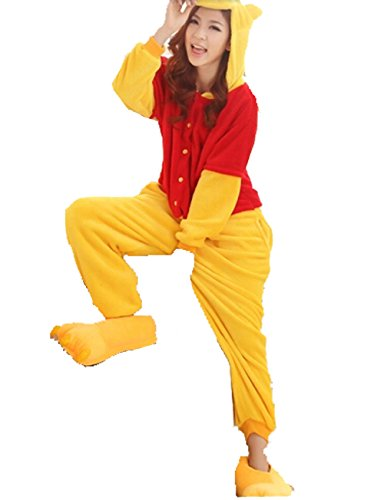 Unisex nightwear and pyjamas Unisex Einteiler/Pyjama für Erwachsene,Winnie Pooh-Design, aus warmem Flanellstoff Blau blau L (165-173cm)
