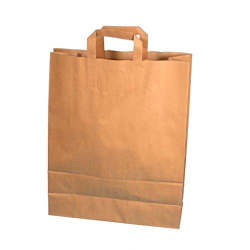 150 Papiertragetaschen Papiertüten Einkaufstüten Papier Bio braun 100g/m² stark extragroß 45+17x47cm mit Flachhenkel