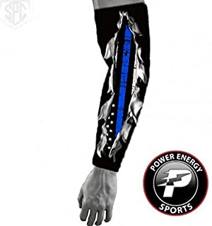 Power Energy Sports Police Thin Blue Line Compression Arm Sleeve I Bleed Blue