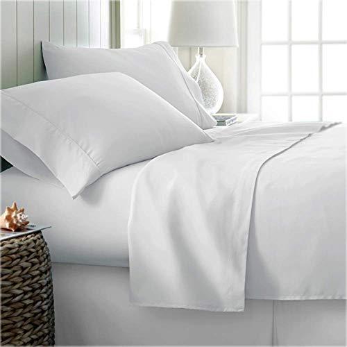 EMPEROR Juego de sábanas de 6 piezas con bolsillo profundo de 48 cm, 1 sábana ajustable, 1 sábana plana y 4 fundas de almohada, juegos de sábanas suaves, 600 hilos de algodón egipcio (blanco)