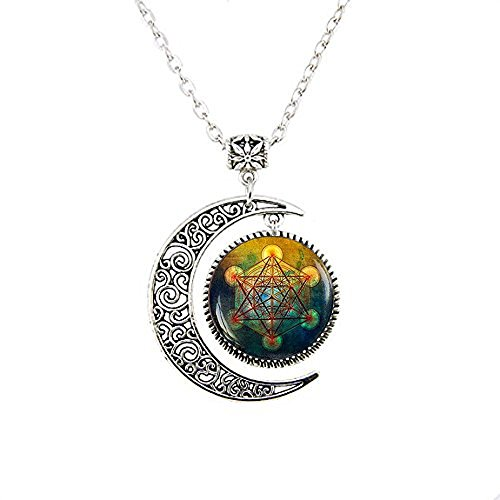 stahpk Collar de la luna del cubo de Metatrón,Collar de la luna del cubo de Metatrón,Regalo de la joyería del cubo de Metatrón