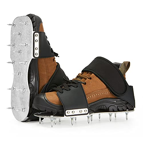 """Leweio Gunite Spiked Shoes -Metal Plate Spiked Screeding Shoes with 3/4"""" Short Spikes Perfect For Epoxy Floor"""