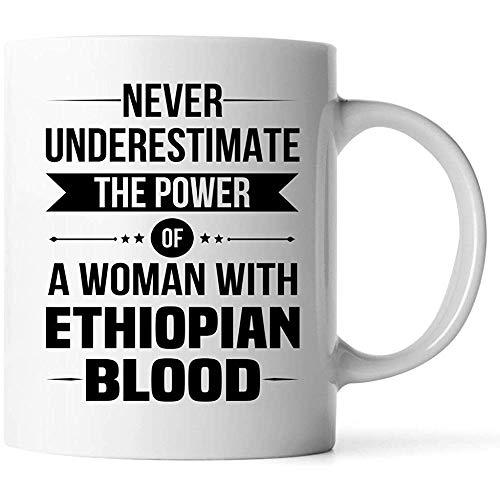 Unterschätzen Sie niemals ETHIOPIAN Coffee Mug 11 oz weiß - gute Geschenke für Mädchen - einzigartige Kaffeetasse - Dekor Abziehbild Souvenirs Memorabilia
