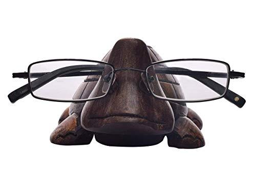 Store Indya, Mano classico intagliato a forma di tartaruga Rosewood occhiali Holder stand spettacolo regalo per lui o lei