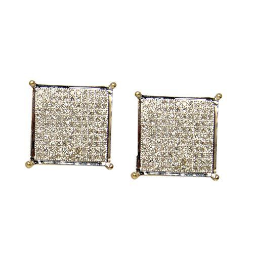 Pendientes de diamante para hombre/mujer 14Mm 4 dientes 2.50 Ctw Pendientes de plata de ley chapados en oro amarillo