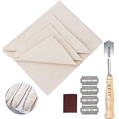 Bread Lame Set Hand Crafted with 5 replacement blade and Leather Protective Cover professional 100% Cotton Pastry bakers dough proofing couche for French Baguette loaves Artisan loaf (Small Cover)