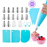 Piping Bags and Tips Set,Omini Cake Decorating Kits with 14 Stainless Steel Baking,2 Reusable Silicone Pastry Bags,3 Icing Smoother, 2 Couplers,2 Ties&2 Cupcakes for Baking Decorating Cake,25 Pcs