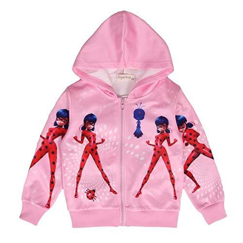 Fille Pull Licorne Imprimé Sweat a Capuche Zipper Manteau Veste Vêtements Rose Cadeau pour Enfants, 05 Coccinelle Rose, 2-3 ans