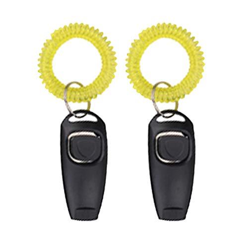 axuanyasi 2 in 1 - Hundetraining Klicker mit Pfeife/Clicker mit Handschlaufe passend für Hund, Katze, Vogel oder andere Haustier (Schwarz)