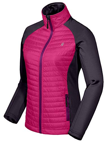 Little Donkey Andy Women's Insulated Hiking Jacket, Thermal Running Hybrid Jacket, Lightweight Breathable and Warm Rose Size XS