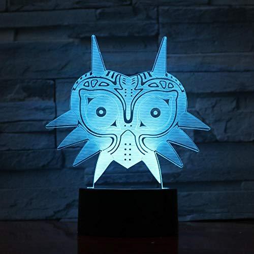 3D-lamp kat masker dier optische illusie LED nachtlampje 7 kleuren nachtkastje slaapkamer tafel kinderen nachtlampje met USB-kabel Kerstmis cadeau verjaardag