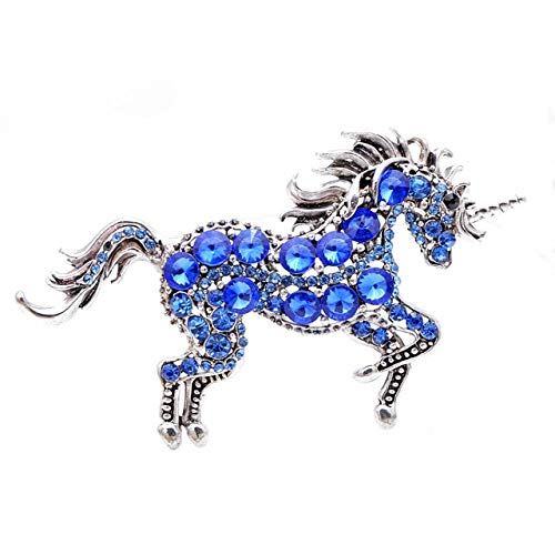 7 Colors Rhinestone Horse Brooches for Women Unicorn Brooch Pin Animal Fashion Jewelry Vintage Coat Pin-Navy Blue