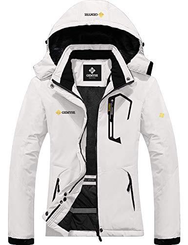 GEMYSE Women's Mountain Waterproof Ski Snow Jacket Winter Windproof Rain Jacket (White,Small)