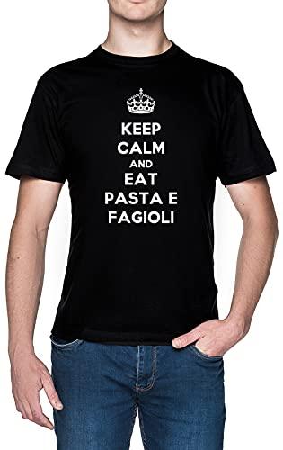 Keep Calm And Eat Pasta E Fagioli Nero Uomo Maglietta Dimensioni S Black Men's Tee Size S