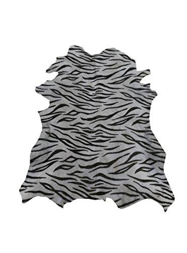 Zerimar Alfombra Piel de Cabra Natural Premium | Medidas: 90x80 cms | Estampada imitación Tigre | Alfombra Salón | Alfombra Salón Grandes | Alfombras de Pelo