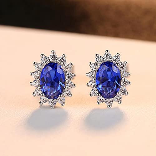 Nuevos Aretes De Zafiros Azul Real con Piedra De Nacimiento Natural con Joyería Fina De Plata De Ley 925 Sólida para Mujeres