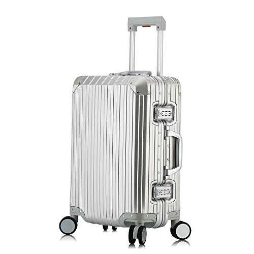 Hardside Luggage, All Aluminum Hard Shell Suitcase With Spinner Wheels (Silver, 20 inch)