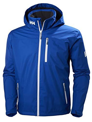 Helly Hansen Men's Crew Midlayer Fleece Lined Waterproof Windproof Breathable Sailing Rain Coat Jacket with Stowable Hood, 563 Olympian Blue, X-Large