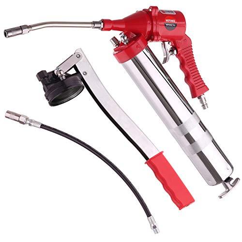 Pistolengriff Luft Fett Pistolen Satz Einhandluft pneumatischer Kompressor und Hand Schmierfett mit Flexschlauch und zusätzlichem Metallrohr RT-4106