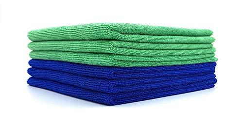 SellerKing® 6 Mikrofasertücher 3 x grün Küche, 3 x blau Haushalt 40 x 40 cm, 300 GSM