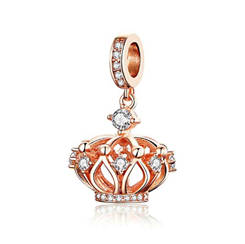 Heart Charms 925 Sterling Silver Crown Cubic Zircon Rose Gold Love Charm Bead for Bracelets Family Birthday Anniversary Gift (Crown Charm Bead)