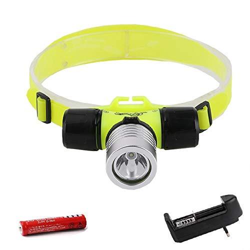 Head Torch 18650 Faro de buceo XPE LED bajo el agua linterna frontal impermeable portátil linterna de cabeza luz de buceo linterna B