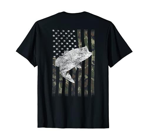 Bass Fishing American Camo USA Flag for Fisherman (on back) T-Shirt