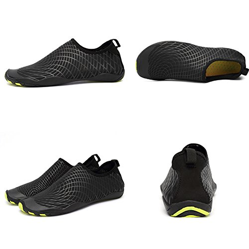 CIOR Men and Women's Barefoot Quick-Dry Water Sports Aqua Shoes with 14 Drainage Holes for Swim, Walking, Yoga, Lake, Beach, Garden, Park, Driving, Boating,SYY04,w.black,43