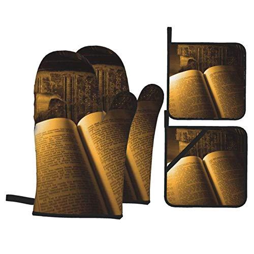 A la luz de las velas, manoplas y porta ollas para horno de lectura nocturna, superficie antideslizante, guantes de cocina resistentes al calor para microondas para hornear, cocinar, barbacoa