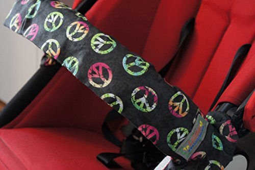 Lollibar Stroller Safety Handlebar Cover in Pattern 'Peace All Around' Black Background with Multi-Colored Peace Sign