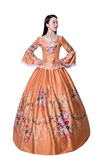 Damenkleid Outfits Party Kostüm Hof Rokoko Barock Marie Antoinette Ballkleider 18. Jahrhundert Renaissance - Gelb - M: Höhe 65/67