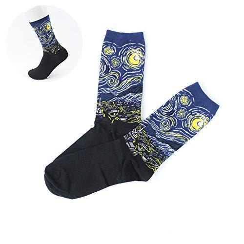 Wudi 1 par Unisex Calcetines Coloridos de Arte con Dibujos Casual Calcetines de algodón Calcetines (Cielo Estrellado)